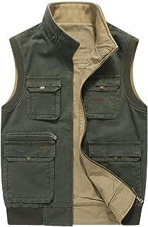 ポケットベストカジュアルダブルベスト春と秋の綿メンズマルチポケットベスト釣りベスト (色 : アーミーグリーン, サイズ さいず : 3XL)