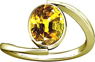 Divya Shakti 12.25-12.50 Carats Yellow Sapphire Ring (Pukhraj Stone Panchadhatu Ring) 100% Original Natural AAA Quality Gemstone for Women (6.5)