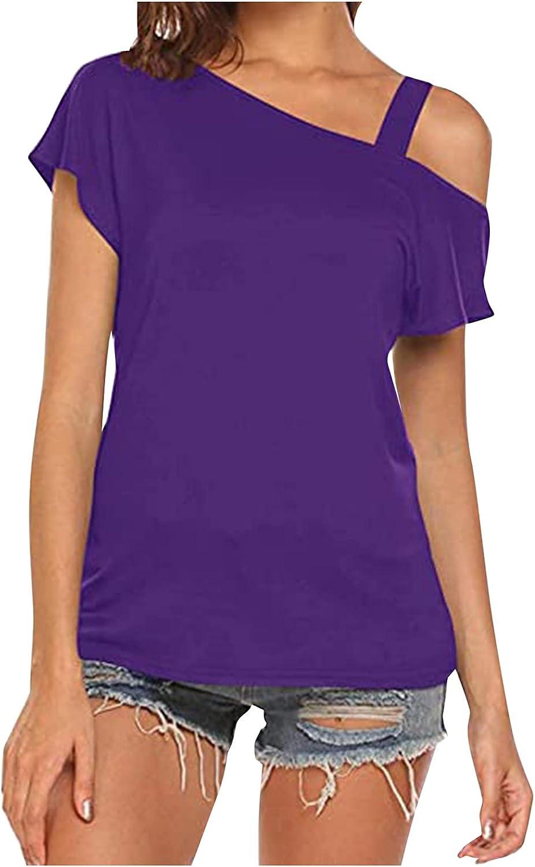 Eduavar Summer Tops for Women Cold Shoulder Short Sleeve V Neck T Shirt Loose Comfy Soft Solid Color Blouses Casual Tops