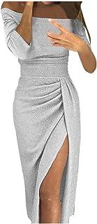 251a5fa448c Longra Femmes Robe Moulante à épaules dénudées Femmes Haute Fente  Asymétrique Longue Maxi Robe Automne Hiver