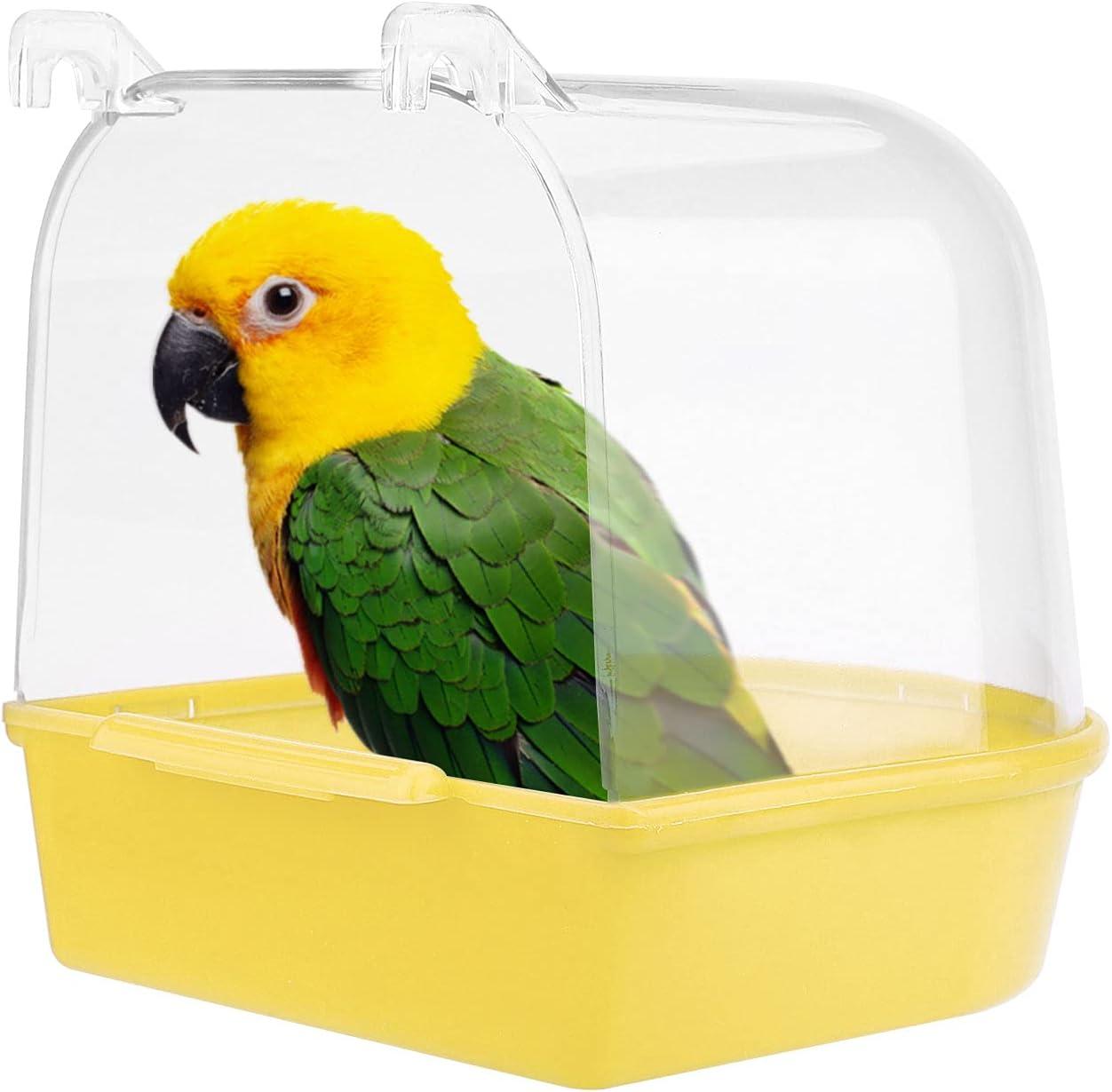 Jodsen Bañera para pájaros,Accesorios para pájaros,Suministros para jaulas de pájaros con Ganchos,Ducha de Agua,Bandeja para pájaros pequeños para Canarios, periquitos,Loro 13X14X13cm (Amarillo)