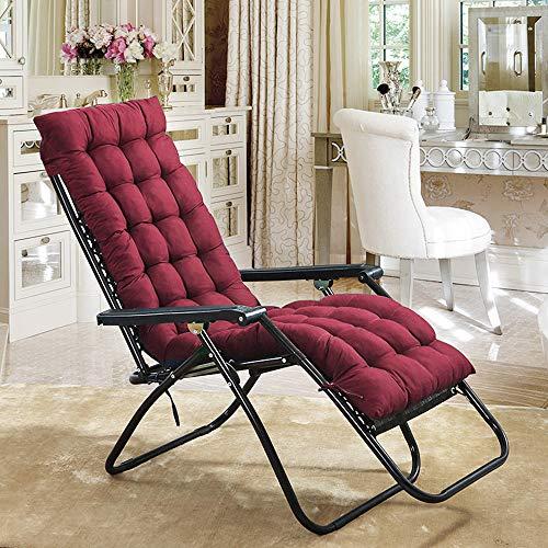 Liegenauflage, Gartenliege Auflage, Dick Garten Liege Stuhl Polster, Anti-Rutsch Kissen für Gartenliegen Sonnenliege Liegestuhl, Auflage mit rutschfeste Taschen (170 * 53 cm) ohne Stuhl (Rot)