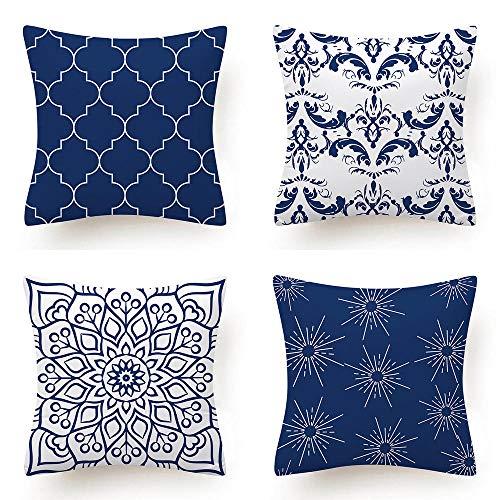 Quuzee 4 Piezas Funda de Almohada 50x50cm Geometría De Patrón Azul Simple Fundas de Cojín Terciopelo Sencillo y Decorativo para Sofá Camas Dormitorio Coche Lino Cojines Throw Pillow Covers (20x20in)