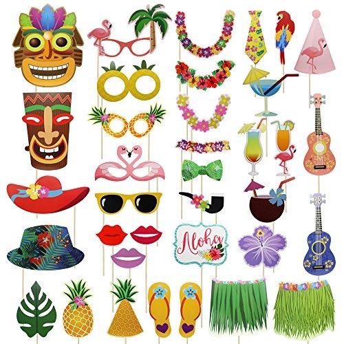 Meetory 36 piezas Accesorios para fotos hawaianas,