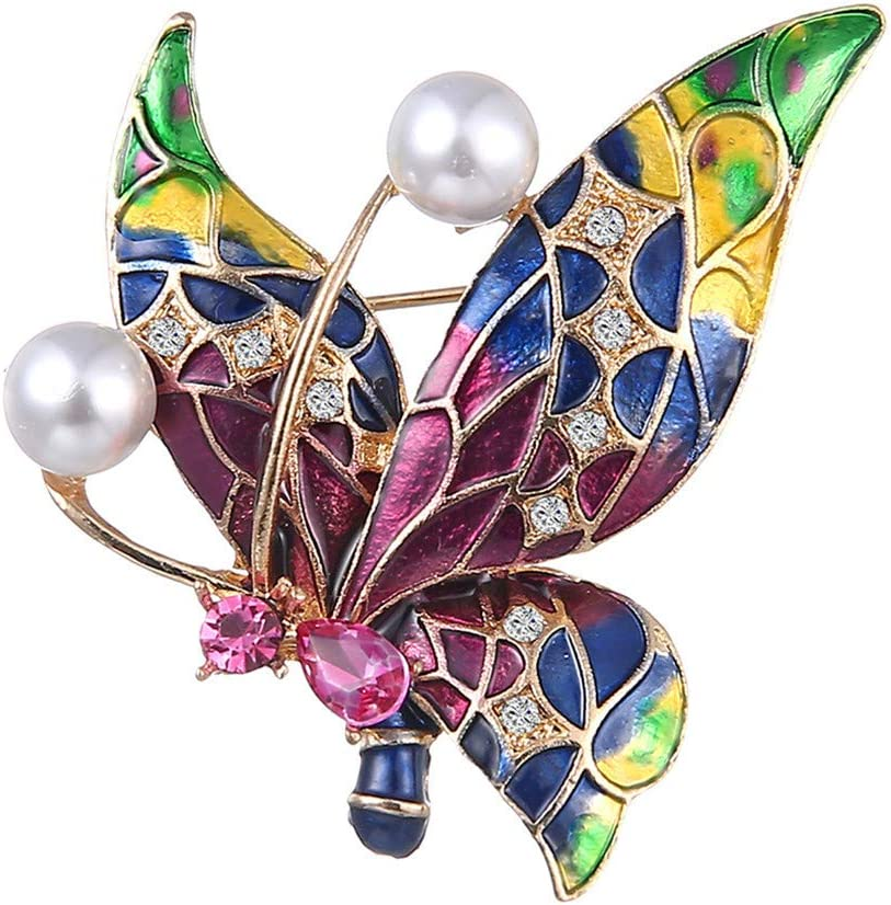 WEILYDF Butterfly Brooch Delicated Faux Pearl Crystal Brooch Graceful Women Party Wedding Vintage Brooch Pin Accessories