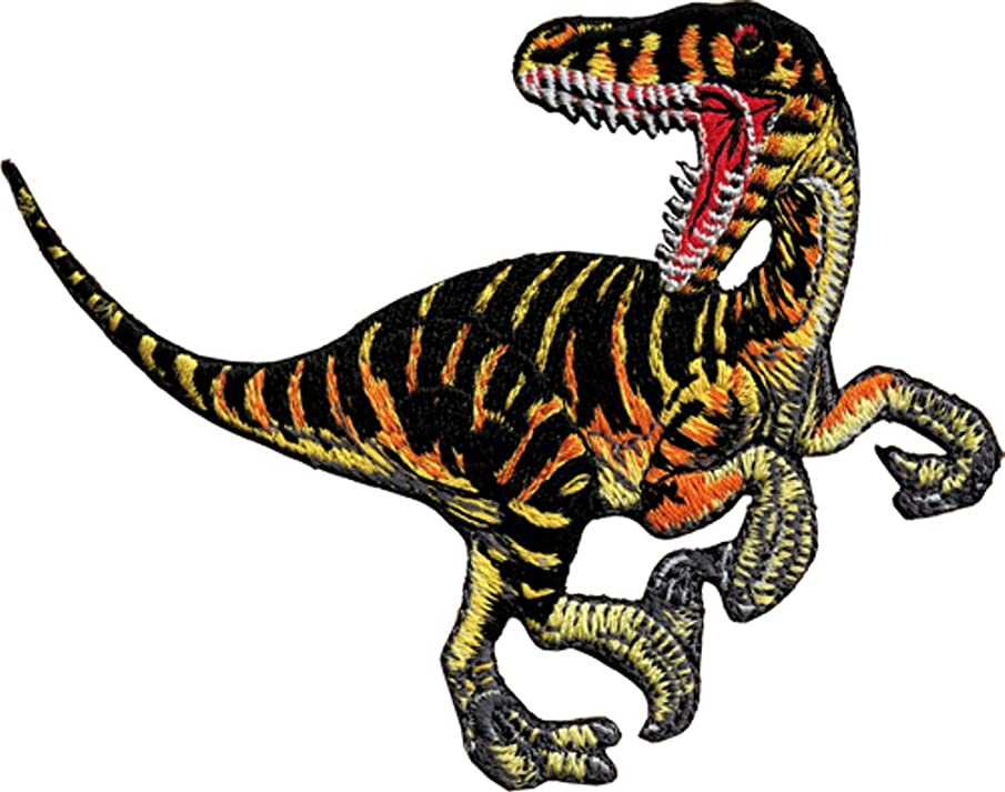 Dinosaur Animal Extinct Striped Velociraptor Embroidered Iron On Applique Patch P3986