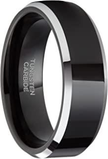 6mm/8mm Mens Womens Black Tungsten Rings Wedding Band Beveled Edge Size 4-15