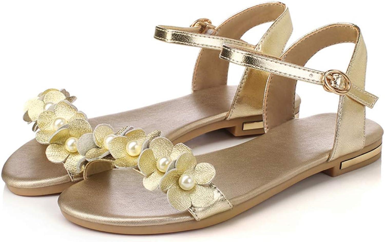 T -JULY Woherrar Sandal Open Toe Slingback Low Heel PU PU PU läder med Flower Sweet Style sommar skor  fabriks direktförsäljning