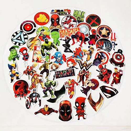 YLGG 50 Piezas Spider Man Iron Man Pegatinas de Graffiti Impermeables para computadoras portátiles, patinetas, Maletas, Cascos, teléfonos móviles, Motocicletas, automóviles, etc.