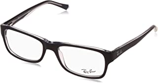 Ray-Ban 0rx5268 No Polarization Rectangular Prescription Eyewear Frame, Top Blue on Transparent, 52 mm