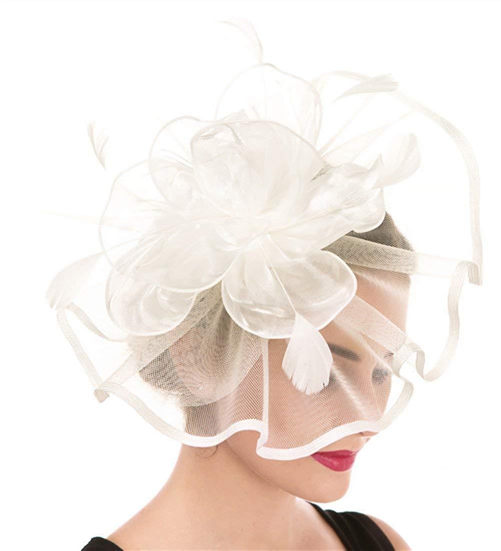 Fascinator Womens Organza Church Kentucky Derby British Bridal Tea Party Wedding Hat Summer Ruffles Cap