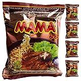 Ramen Mama | Fideos Instantáneos 5 paquetes de 60gr | Fácil de preparar | Noodles de Tailandia (Ternera, 5)