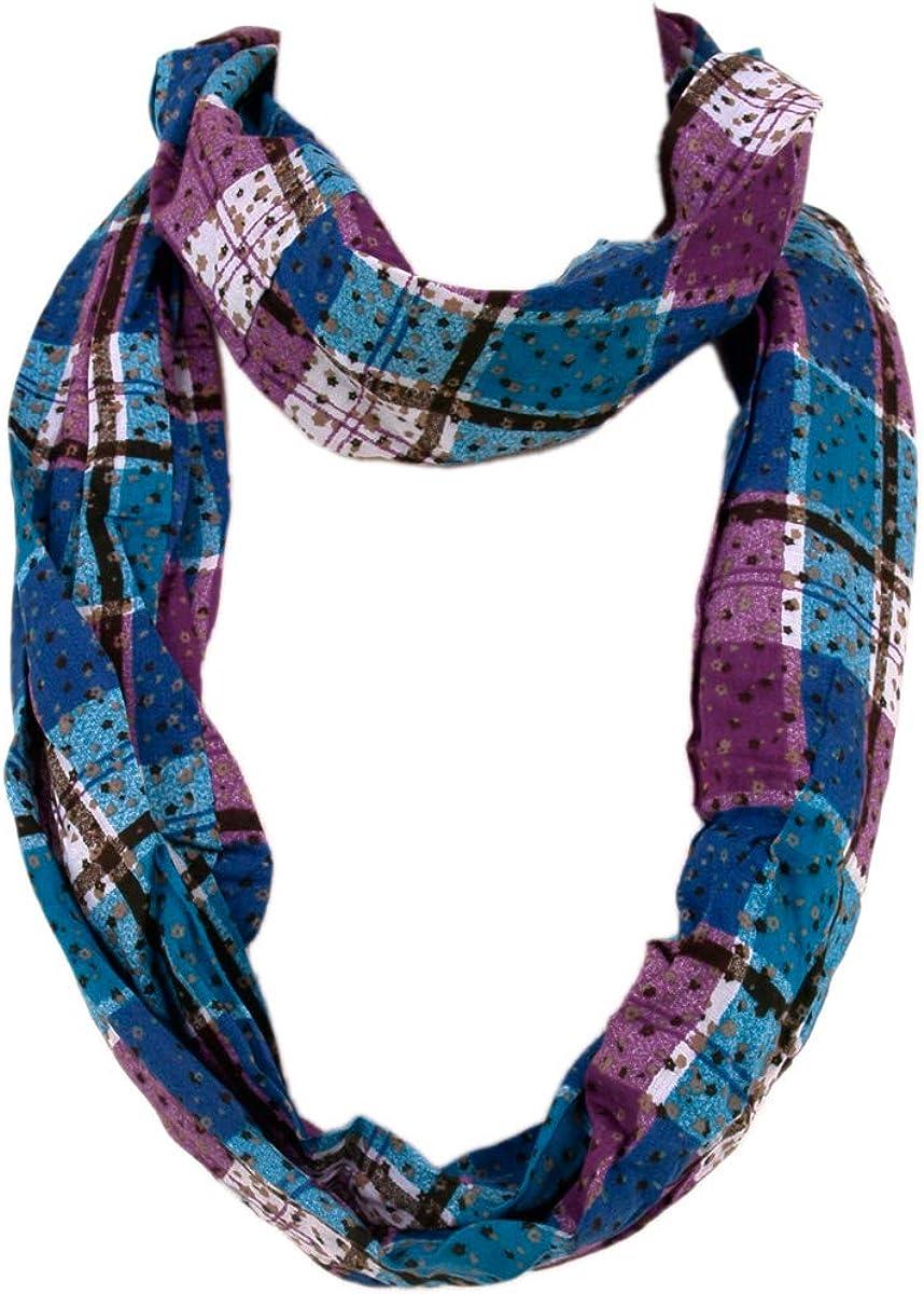 Plaid Stars Print Infinity Loop Fashion Scarf