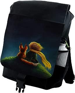 Lunarable Fantasy Backpack, Little Prince and Fox Cartoon, Durable All-Purpose Bag