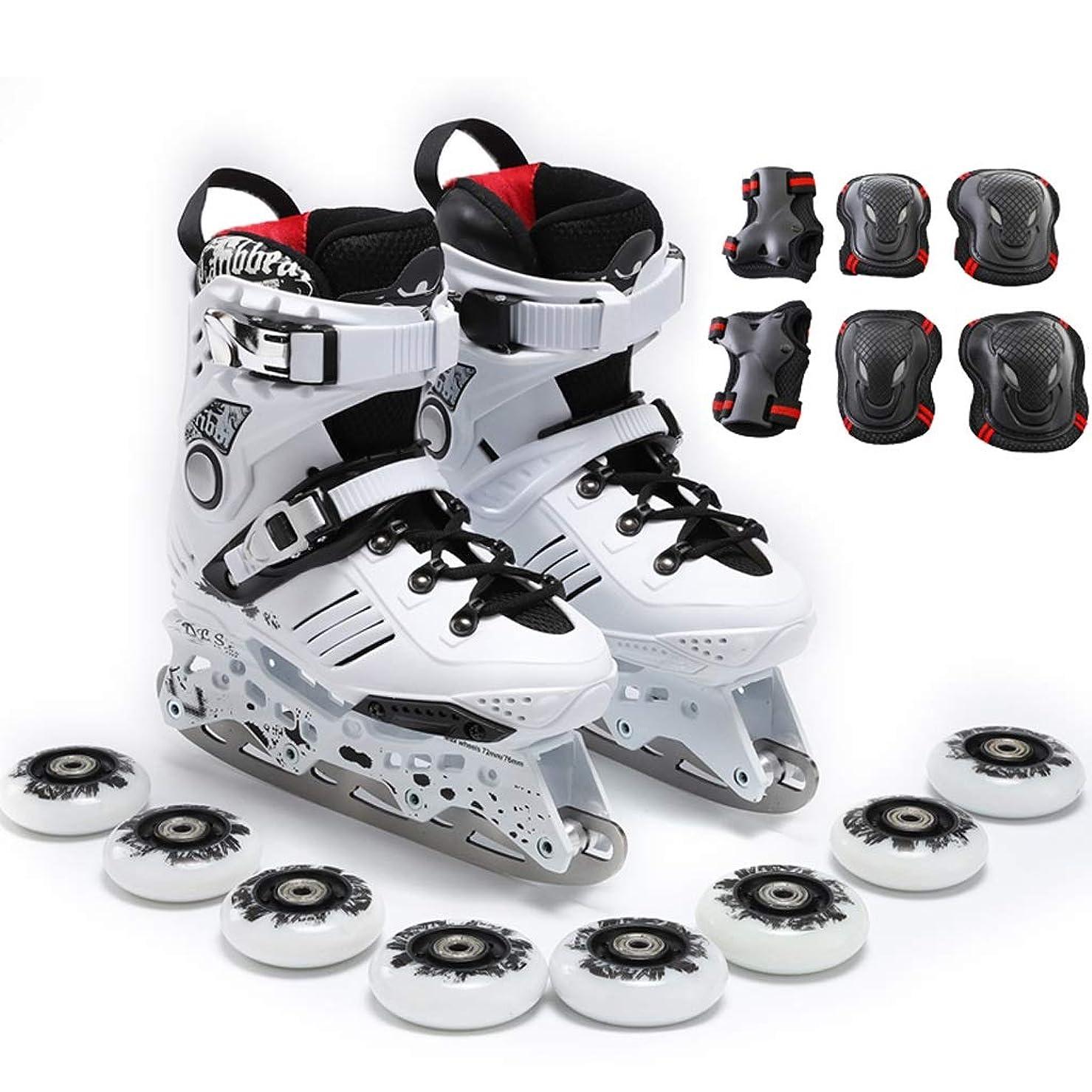 魅惑的な変化する従来のインラインスケート アイスナイフローラースケート大人のインラインスケート、高弾性摩耗PUホイール、プロのスケート靴 (Color : A, Size : EU 38/US 6/UK 5/JP 24cm)