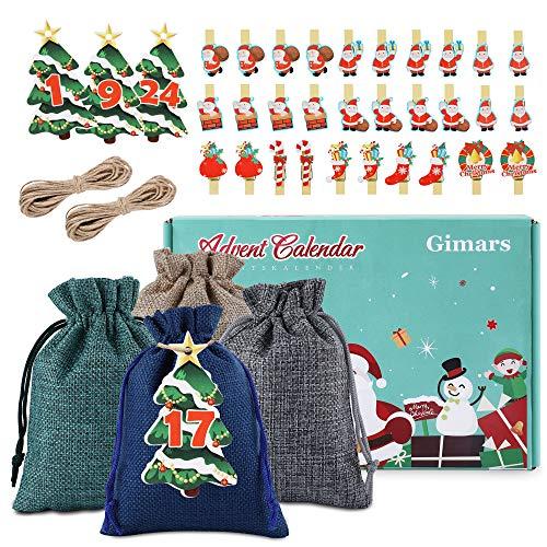 Gimars Adventskalender zum Befüllen, 24 STK Weihnachtskalender mit 1-24 Adventszahlen Karten und 30 PCS Weinnachten Klammern,14 x 10 cm Weihnachten Geschenksäckchen