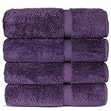 Luxury Hotel & Spa 100% Cotton Premium Turkish Bath Towels, 27' x 54'' (Set of 4, Plum)