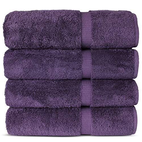 Luxury Hotel amp Spa 100% Cotton Premium Turkish Bath Towels 27quot x 54#039#039 Set of 4 Plum