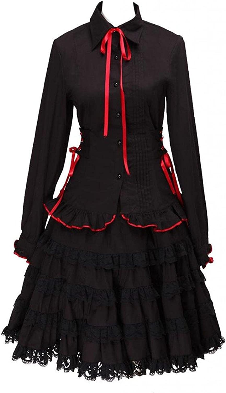 Ainclu Womens Cotton Black Long Sleeves Lolita Blouse and Ruffles Skirt Outfit