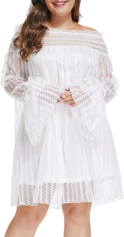 XAKALAKA Women Plus Size Mesh Lace Off Shoulder Ruffle Long Sleeve Party Mini Dress