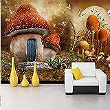 ZZXIAO Papel tapiz mural 3D dibujos animados cuento de hadas mundo seta casa mariposa flor foto fondo niños habitación 3D Decoración Fotomural sala Pared Pintado Papel tapiz no tejido-400cm×280cm