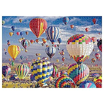Boxgear 1000-Piece Hot Air Balloon Jigsaw Puzzle - Colorful Relaxing Landscape Scenery - Thick Recycled Cardboard Material with Guide Markings - for Adults Friends Families - 27.56 x 19.69
