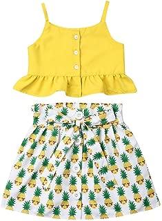 Toddler Baby Girl Floral Outfit Off Shoulder Crop Tops Tanks & Shorts Skirt Set Newborn Infant Summer Clothes