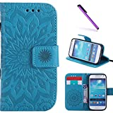 Galaxy S4 Mini Case,LEECOCO Fancy Embossed Floral Pattern Wallet Case with Card/Cash Slots [Kickstand] Shockproof PU Leather Flip Case Cover for Samsung Galaxy S4 Mini i9190 Mandala Blue