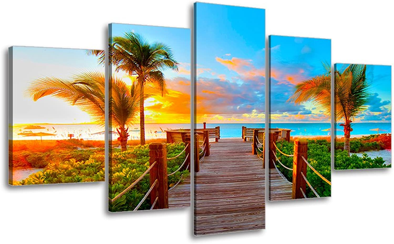 Tropical Beach Painting Decor, SZ 5 Piece Palm Tree Sunset Picture Canvas Wall Art, Ocean Canvas Prints for Bedroom, Ready to Hang, 1  Deep, Waterproof, Medium