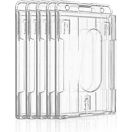 Uniclife Porte-badge Vertical à 2 Cartes Protecteur de Carte de Crédit en Plastique Transparent Avec Fente pour le Pouce, Paquet de 5