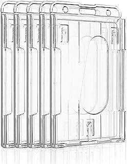 Uniclife Porte-badge Vertical à 2 Cartes Protecteur de Carte de Crédit en Plastique Transparent Avec Fente pour le Pouce, ...