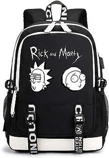 Rick-Morty Mochila Casual Mochila Casual Mochila Impresa Elegante Bolso de Escuela Bolsa de Viaje de Mochila al Aire Libre Unisex (Color : Black07, Size : 30 X 15 X 43cm)