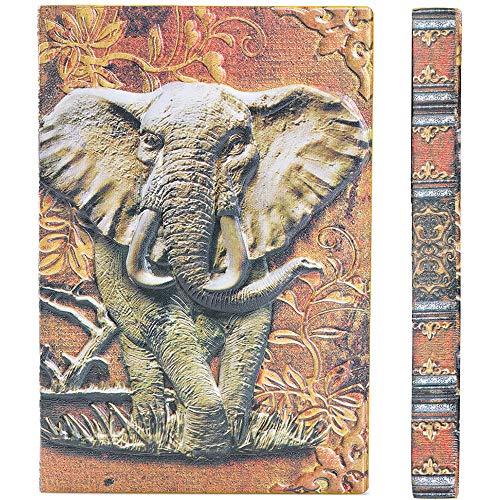 YHH Leder Notizbuch Liniert A5 Hardcover, Vintage Tagebuch mit Lesezeichenbänder Reisetagebuch Journal, Handgemachtes, 200 Seiten, Notizheft für Erwachsene Reisende Freund, 3D Elefant Bunt