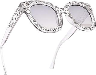 SamuRita Sparkle Vintage Star Rhinestone Cat Eye Sunglasses Novelty Glitter Shades