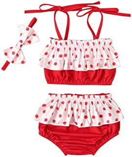 Lookvv Infant Baby Girls One-Piece Swimsuit Toddler Straps Plaid Print Bathing Suit with Bows Summer Swimwear Outfit