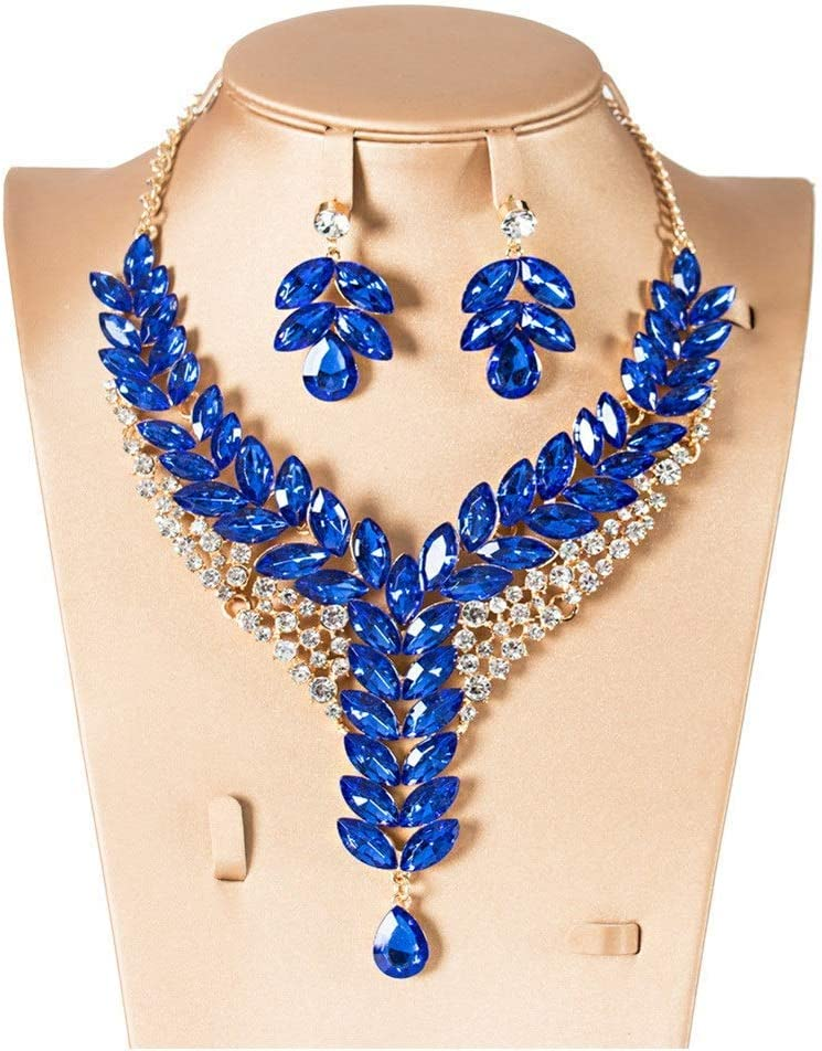 Urns Ashes Funeral Women's Jewelry Set Clear Crystal Dangle Earring Bridal Jewellery Set For Bridesmaid Neckle Earrings Set Wedding (Color : Multi-colored, Size : Free size),Size:Free size,Colour:Whit