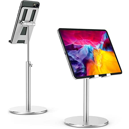 スマホ スタンド タブレット スタンド 高と角度を調整可能 デスクトップ タブレットスタンド 頑丈なすべてのアルミニウム合金 携帯スタンド 4.7〜12.9インチのスマホ タブレットなどのデバイスに 対応Huawei/iPad/Kindle/などに最適