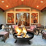 NAWS Patio Large Bonfire for Party, Outdoor Heater Wood Burning, Large Round Fire Pit, Heavy Duty Rust Proof Metal Fireplace for Charcoal Burning,20inch(50cm)