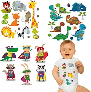 Baby Iron on Patches Cute Heat Transfer Stickers Lion Dinosaurs Giraffe Tiger Snake Cartoon Animal Appliques for Kids Boys Girls Clothes T-Shirt Swimsuit Jeans Washable DIY 3 Sheets