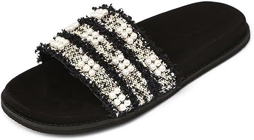 JIANXIN Sandalias Femeninas Summer Flat Heel Flat Interior Indoor Herringbone Sandals (Tamaño   34)