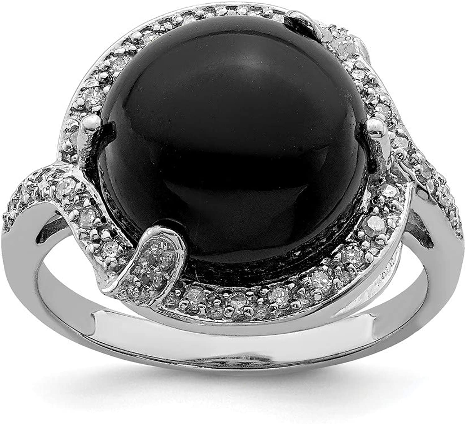 Beautiful Sterling silver 925 sterling Sterling Silver Rhodiumplated Onyx and Diamond Ring