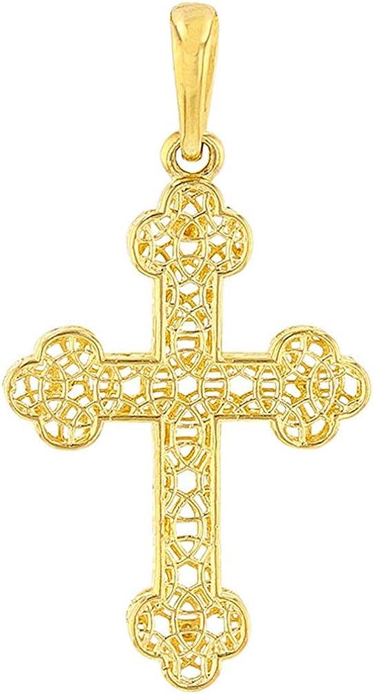 14k Yellow Gold Textured Filigree Eastern Orthodox Cross Pendant (Medium)