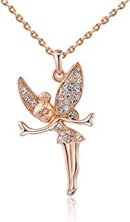 Tink Crystal Necklace, Rose Gold Tone Crystal Angel Tinkerbell Fairy Necklace