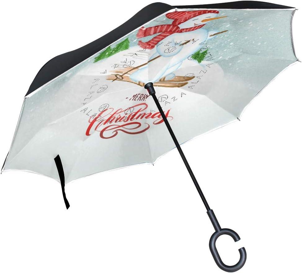Pfrewn Xmas Fresno Mall Snowman Snowflake Umbrella Brand Cheap Sale Venue Windproof Inverted Anti-U