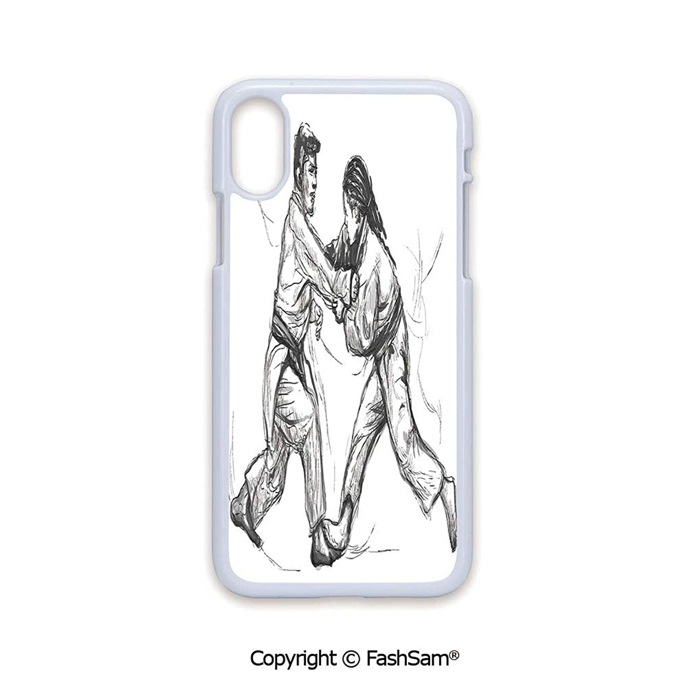 Plastic Rigid Mobile Phone case Compatible with iPhone X Black Edge Karate Eastern Martial Arts Fighting Men Combat Traditional Hand Drawn Print 2D Print Hard Plastic Phone Case
