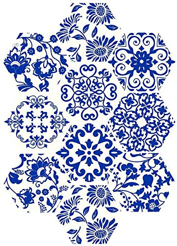 SXXDERTY 3D DIY Estilo Chino Pintura de Acuarela Hexagonal Adhesivo para Azulejos Costuras Creativas Pegatinas de Pared hexagonales Baño Cocina Etiqueta para el Piso del hogar Papel Tapiz an