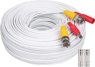 WildHD Bnc Cable 200ft All-in-One Siamese BNC Video and Power Security Camera Cable BNC Extension Wire Cord with 2 Female Connetors for All Max 5MP HD CCTV DVR Surveillance System (200ft Cable, White)