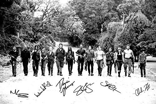 """Signierter Fotodruck, 14 Schauspieler aus """"The Walking Dead"""", Nr. 3, super Qualität–30,5x 20,3cm (A4)"""