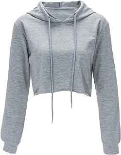 Women Long Sleeve Pullover Hooded Sweatshirt Casual Loose Crop Top Shirt