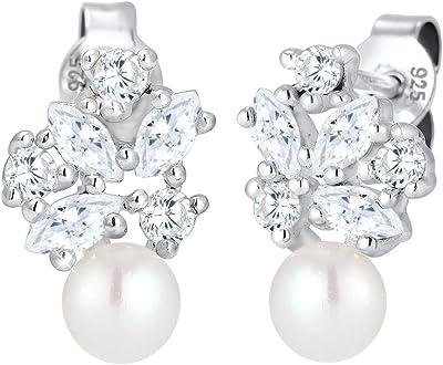 Elli Premium 0302291317 - Orecchini da donna a sfera, in argento 925 rodiato, con zirconi, taglio marquise, perla d'acqua dolce, colore: Bianco